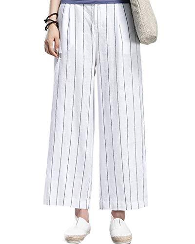 Aeneontrue Women's 100% Linen Wide Leg Pants Capri Trousers Back with Elastic Waist (S, Style2_White)