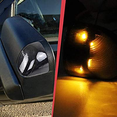 MFC Black Cover Lens LED Outside Rear View Mirror Turn Signal Lamps lights for 2010-2020 Dodge Ram 1500 2500 3500 4500 5500 (Left + Right Side): Automotive