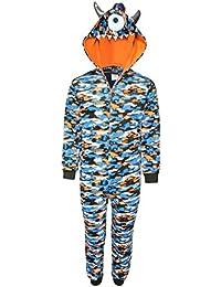 Boys Micro Fleece Onesie Pajamas with Character Hood