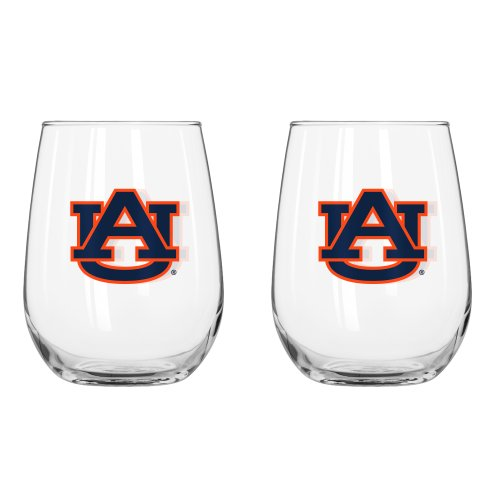 Ncaa Auburn Tigers Curved Beverage Glass  16 Ounce  2 Pack
