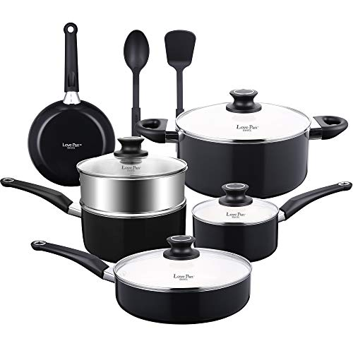 AMERICOOK 8 piece, Black Pots and Pans Set, White Ceramic Nonstick Cookware Set with Glass Lids, Stay-Cool Sturdy Handles and Silicone Kitchen Utensils for Cooking and Baking in Sleek, Suitable for Al