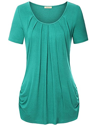 Tunic Blouses for Leggings for Women Jazzco Women's Short Sleeve Drape Front Knit Shirt (Green,X-Large) (Drape Front Knit)