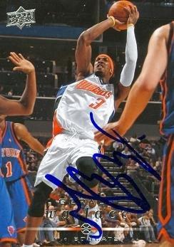 Autograph Warehouse 43060 Gerald Wallace Autographed Basketball Card Charlotte Bobcats 2008 Upper Deck No .16