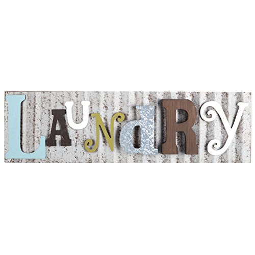 Laundry Galvanized Metal Colorful Wooden Letters Wall Decor Laundry Room Wash Room Sign Rustic and Unique