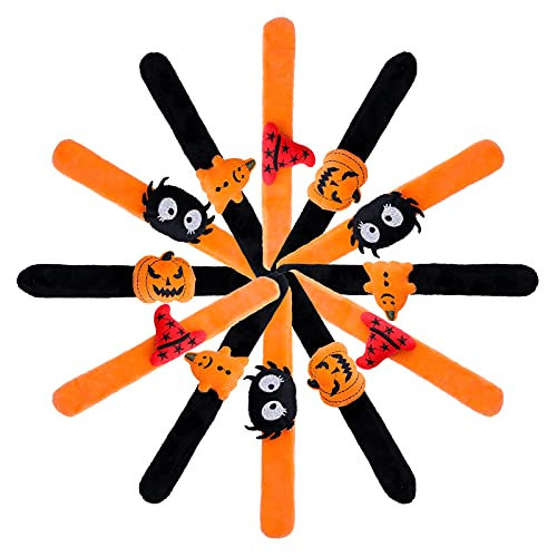 EQY 12 Pcs Halloween Slap Bracelets, Halloween Themed Wristbands, Pumpkin Ghost Patterns Bracelets, Including Cute Ghosts, Spiders, Pumpkins, and Witch Hats, Party Gifts