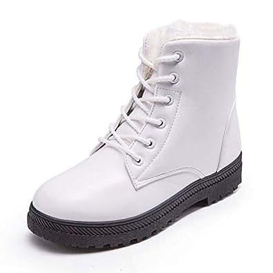 Botines Mujer Cuero Invierno Pelaje Piel Botas de Nieve Planos Casual Cordones Zapatos Comodos Zapatillas Boots para Señoras Negros Blanco Marrón 35-43: ...