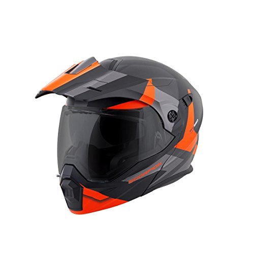 ScorpionEXO Unisex-Adult Modular/Flip Up Adventure Touring Motorcycle Helmet (Orange, Large) (EXO-AT950 Neocon)