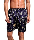 pipigo Men Sleepwear Print Shorts Cozy Satin Lounge Silk Pajama Bottoms 1 M