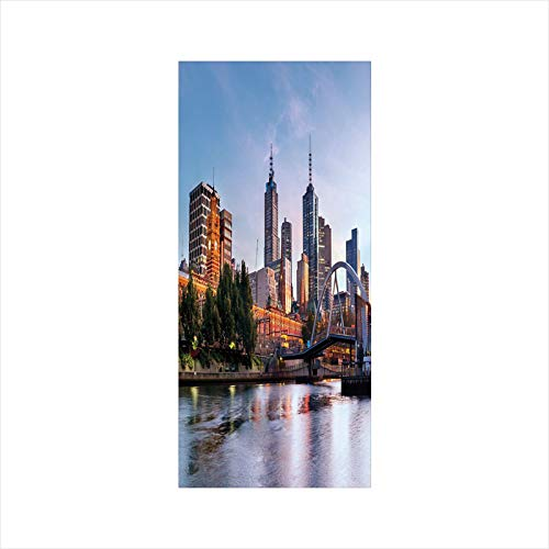 Decorative Window Film,No Glue Frosted Privacy Film,Stained Glass Door Film,Early Morning Scenery in Melbourne Australia Famous Yarra River Scenic,for Home & Office,23.6In. by 35.4In Orange Green Pale