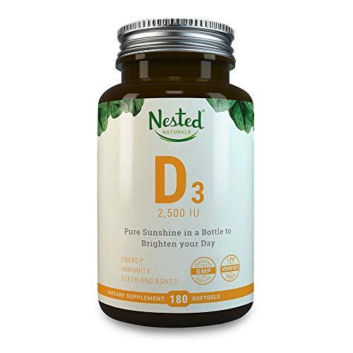 VITAMIN D3 2500 IU | 180 Premium Quality Vegetarian Softgels | Pure Daily D Vitamins Supplement for Men & Women | 100% Non GMO, Gluten, Soy Free Supplement