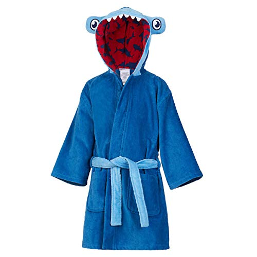 St. Eve Boys Beach Bath Robe/Swim Cover-Up (Medium (7/8), Blue/Shark)