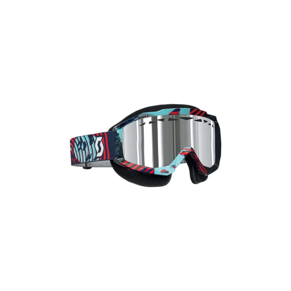 Scott USA Hustle Snowcross Goggles , Primary Color Blue, Distinct Name Vinyl Blue and Red/Silver Chrome Lens, Gender Mens/Unisex 217784 3610015