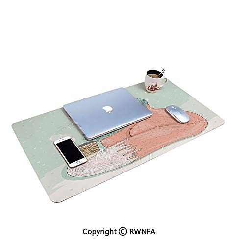 (Cute Hipster Fox with Glasses and Scarf Drinking Coffee Hippie Illustration Large Mouse pad,(15.7