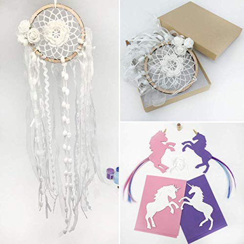 4 Unicorn Projects Make Your Own Unicorn Bookmarks Dream Catcher with White Flowers Photo Display Dreamcatcher Boho Decor Crochet Dream Catchers for Bedroom Dia 4