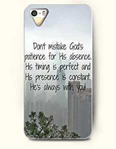 iPhone 5 5S Hard Case (iPhone 5C Excluded) **NEW** Case with Design Don'T Mistake God'S Patience For His Absence...