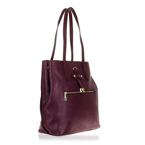 FIRENZE ARTEGIANI.Bolso shopping bag de mujer piel auténtica.Bolso mujer cuero genuino, piel acabdo Dollaro. MADE IN ITALY. VERA PELLE ITALIANA. 30,5x33x15 cm. Color: ROJO GRANATE