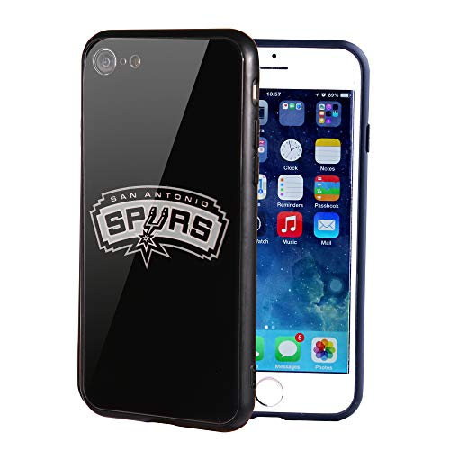 (The Mass iPhone 8 case, iPhone 7 case, NBA Team Logo on Tempered Glass Back Cover and Soft TPU Frame for Apple iPhone 8/7 (San Antonio Spurs, 4.7 inch))