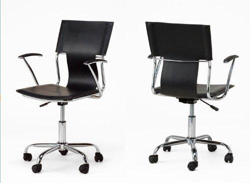 デザイナーズ レザー オフィスチェア ブラック B005MLYRY2  ブラック
