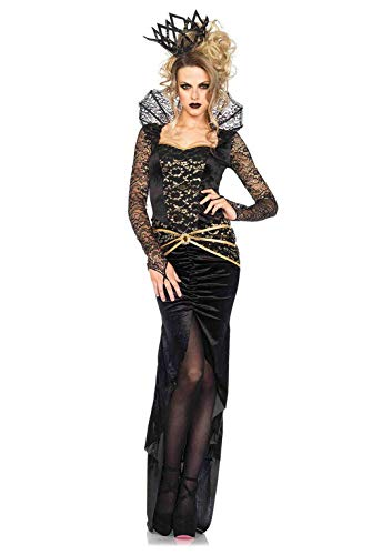 Female Villains Halloween Costumes (Leg Avenue Women's Deluxe Evil Queen, black/Gold,)