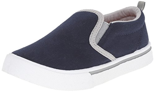 OshKosh B'Gosh Kids' Austin Slip-On (Toddler/Little Kid), Navy White, 8 M US (Toddler Navy Canvas Footwear)