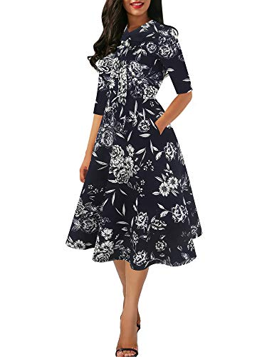 oxiuly Women's Chic Bow Tie V-Neck Pockets Work Party Cocktail A-line Casual Midi Dress OX278 (S, NBF5 Full)