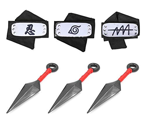 Masterboxan 3 Pcs Naruto Headband Cosplay Accessories Japanese Anime and 3 Pcs Big Kunai Cosplay Leaf Village Ninja -