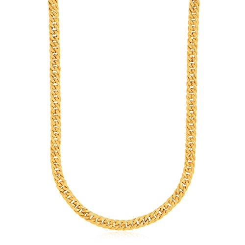 14K Yellow Gold Curb Style Chain Textured Necklace by Jewels By Lux