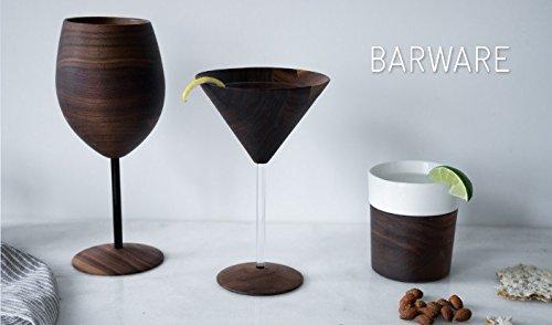 David Rasmussen Designs, Blasphemy Walnut Wine Glass, Glass Stem, Set of 2