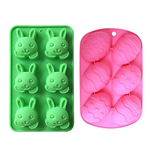 MoldFun 2 Pack Easter Day Bunny & Egg Cake Pan Silicone Molds for Baking Cupcake Muffin Making Chocolate Candy Ice Cube Jello Jelly Soap Wax Crayon -