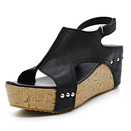 ae8461676 Amazon.com : DingXiong Women Sandals 2018 Wedges Shoes High Heels with Platform  Female Wedge Peep Toe Summer : Garden & Outdoor