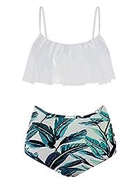 Womens High Waisted Bikini Set Flounce Top Two Piece Swimsuit
