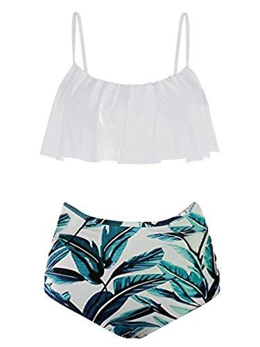 c15aa5972ce3 Womens High Waisted Bikini Set Flounce Top Two Piece Green Leaves Swimsuit