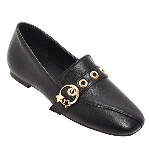Mocassino Slip-on In Pelle Mocassino Donna Latasa Nero. scarpe  suola di  gomma ... 505a8b5c60f