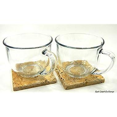 Large Clear Coffee, Tea or Soup Mug, 18 oz.~ 2 Pack