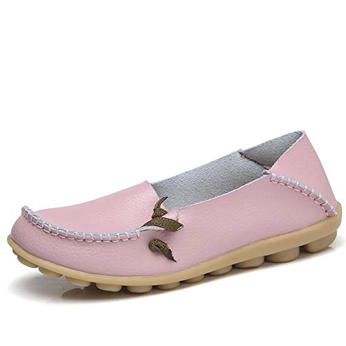 Lucksender Womens Soft Leather Comfort Driving Loafers Shoes 10B(M) US Pink
