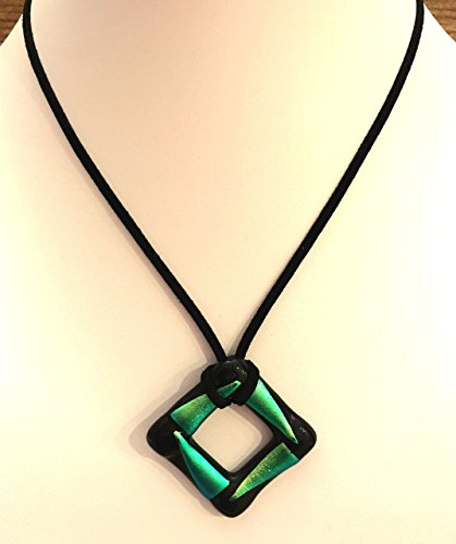 Black and Green Dichroic Glass Square Necklace