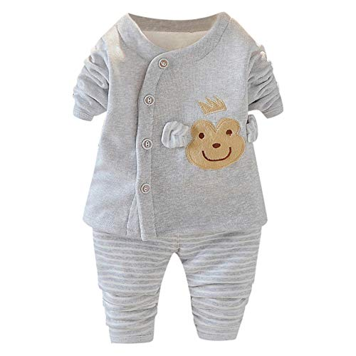 Price comparison product image Kshion 2PCS Toddler Infant Baby Kids Frog Panda Thermal Underwear Pajamas Sleepwear Shirts+Striped Pants Outfits Set (Gray B,  2-3 Y)