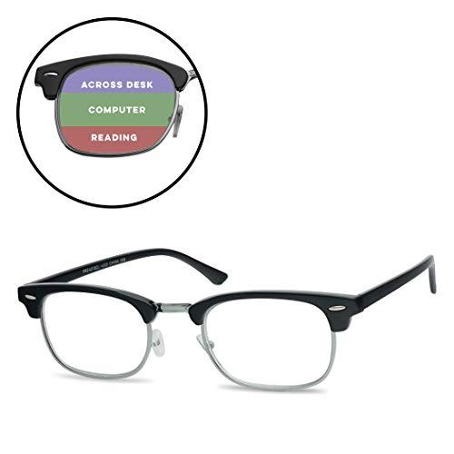 SunglassUP Multi Focus Advance Progressive 3 in 1 Reading Glasses Classic Half Frame Horn Rimmed Style (Black Silver, 1.75)