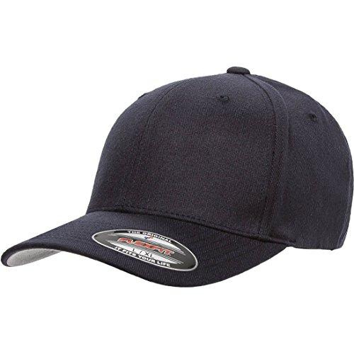 Flexfit/Yupoong 6477 Flexfit Wool Blend Hat Cap (Small/Medium, Dark Navy) (Fitted Hat Baseball Plain)