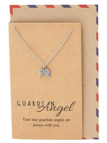 Quan Jewelry Guardian Angel Necklace with Greeting Card, for Women -