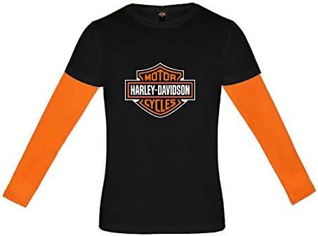 KICKKICK® Camiseta Harley Davidson oficial y original – Tallas de 4 a 12 años – Camiseta de manga larga – Camiseta negra con mangas naranja: Amazon.es: Ropa y accesorios