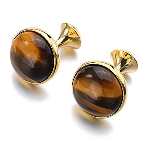Knotckfg Luxury Tiger-Eye Stone Cufflinks for Mens Gold Color Plated Round Stone Cuff Links - Tigers Eye Stone Cufflinks