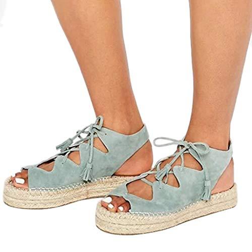 Cross Criss Inch Pump 5 - GIANTHONG Women's Ankle Open Toe Cutout Heeled-Sandals Espadrille Open Wedge Criss Cross Straps-Fashion Wedges Blue