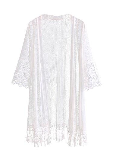 SweatyRocks Women's Floral Lace Crochet Kimono Cardigan Beach Wear Cover up (One Size, White #)