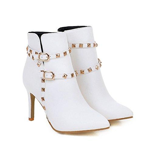 Bottes Elegantes Pointu Boucles Bout et Confortables Talons Femmes Blanc et UH Aiguilles Escarpins Rivets avec à Sexy 6fwwqS
