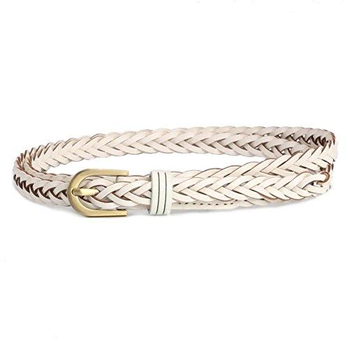 VOCHIC Womens Braided Waist Belt for Large Dress and Shirt Pants Skinny Woven - Woven Belt Gold Buckle
