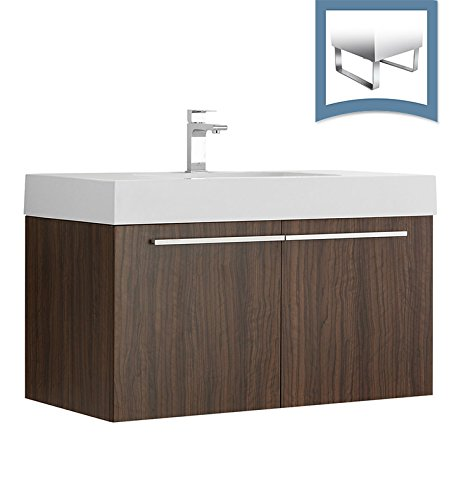 Fresca Vista Walnut Modern Bathroom Cabinet with Integrated (Fresca Vista Walnut)