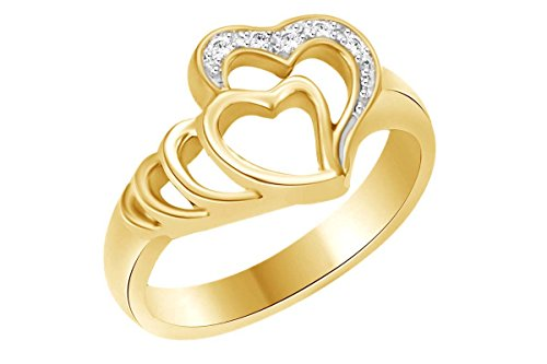 Round White Cubic Zirconia Double Heart Promise Ring In 14k Solid Yellow Gold (0.25 cttw) Ring Size-12.5 Round Vvs2 Ring