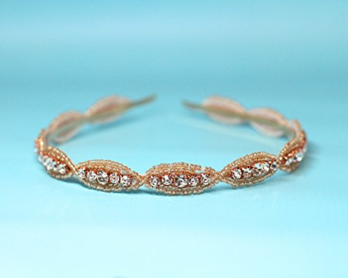 Rose Gold Beaded Bridal Hard Headband by The Ivory Willow