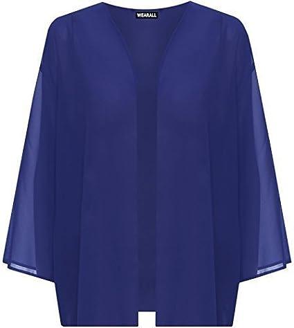 RIDDLEDWITHSTYLE New Plus Size Womens Open Kimono Plain 3//4 Sleeve Ladies Cardigan Top 16-26